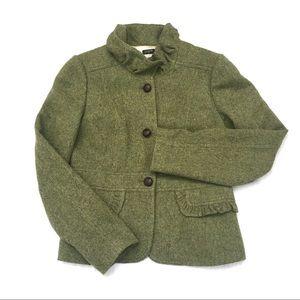J Crew Green Wool Tweed Ruffle Collar Blazer